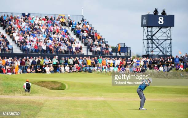 Jordan Spieth of the United States hits an approach shot on the 8th hole during the final round of the 146th Open Championship at Royal Birkdale on...