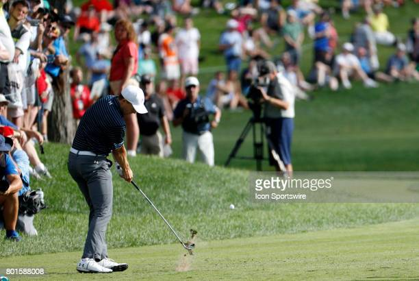 Jordan Spieth of the United States hits from the 16th tee during the final round of the Travelers Championship on June 25 at TPC River Highlands in...