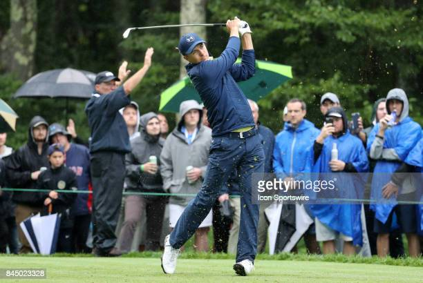 Jordan Spieth of the United States hits from the 8th tee during the third round of the Dell Technologies Championship on September 3 at TPC Boston in...