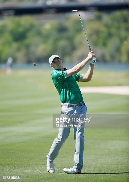 Jordan Spieth of the United States hits his second shot on the 14th hole during the second round of the World Golf ChampionshipsDell Match Play at...