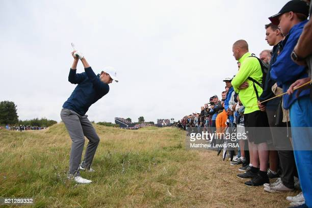 Jordan Spieth of the United States hits his second shot on the 17th hole during the final round of the 146th Open Championship at Royal Birkdale on...