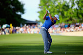 Jordan Spieth of the United States hits his second shot on the 18th hole during the third round of the 2015 Masters Tournament at Augusta National...