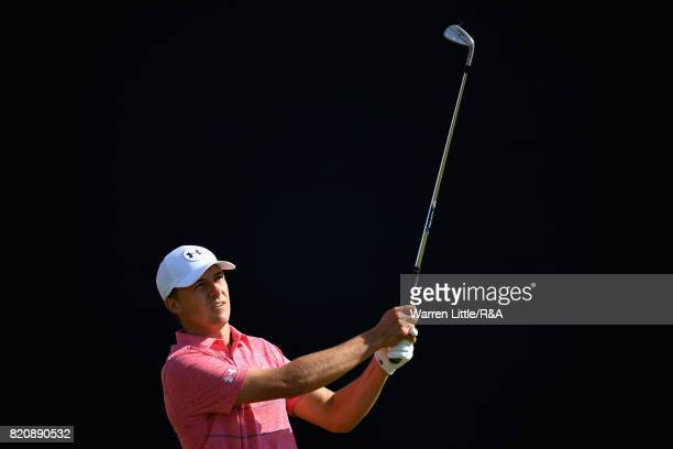 Jordan Spieth of the United States hits his second shot on the 5th hole during the third round of the 146th Open Championship at Royal Birkdale on...