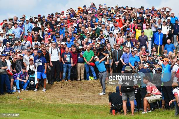 Jordan Spieth of the United States hits his second shot on the 6th hole during the final round of the 146th Open Championship at Royal Birkdale on...