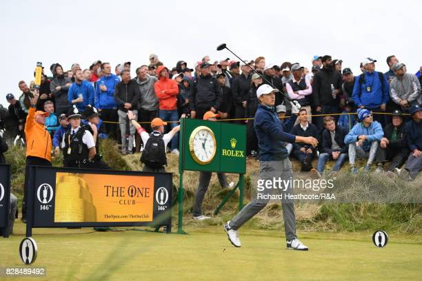 Jordan Spieth of the United States hits his tee shot on the 13th hole during the final round of the 146th Open Championship at Royal Birkdale on July...