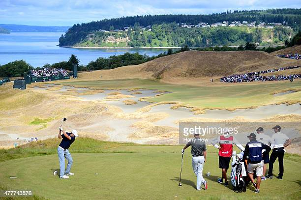 Jordan Spieth of the United States hits his tee shot on the 14th hole during the second round of the 115th US Open Championship at Chambers Bay on...