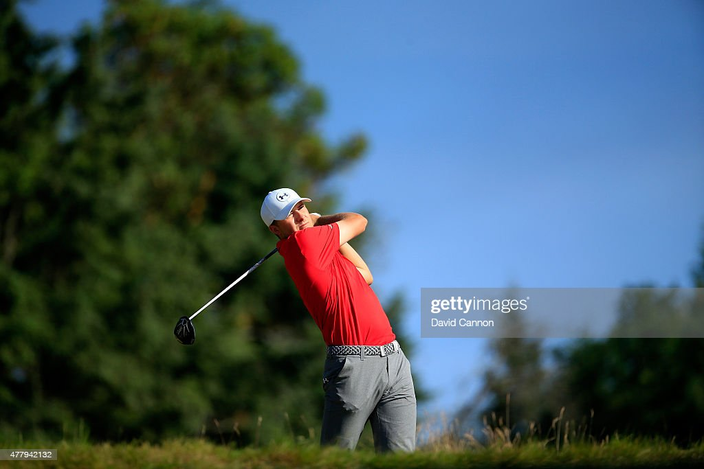 Jordan Spieth of the United States hits his tee shot on the 14th hole during the third round of the 115th U.S. Open Championship at Chambers Bay on June 20, 2015 in University Place, Washington.
