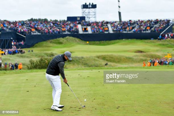 Jordan Spieth of the United States hits his tee shot on the 14th hole during the first round of the 146th Open Championship at Royal Birkdale on July...