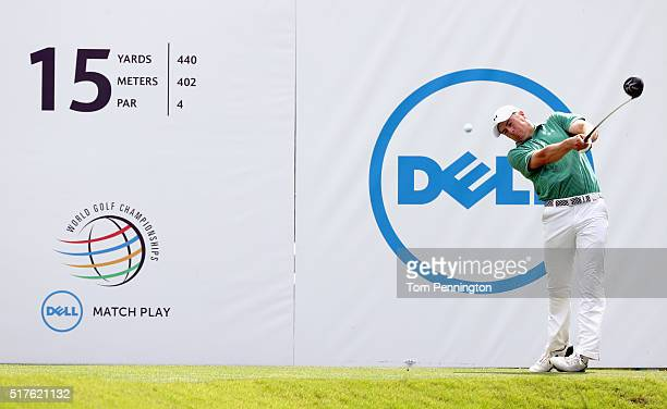 Jordan Spieth of the United States hits his tee shot on the 15th hole during the round of 16 in the World Golf ChampionshipsDell Match Play at the...