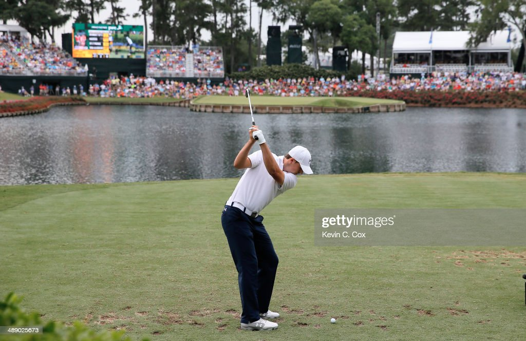 Jordan Spieth of the United States hits his tee shot on the 17th hole during the second round of THE PLAYERS Championship on The Stadium Course at...