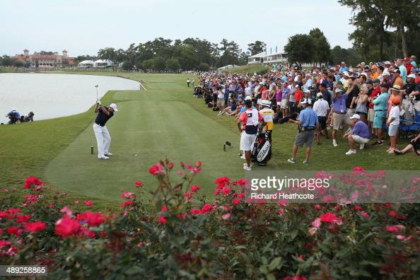 Jordan Spieth of the United States hits his tee shot on the 18th hole during the third round of THE PLAYERS Championship on the stadium course at TPC...