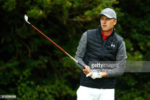Jordan Spieth of the United States hits his tee shot on the 5th hole during the first round of the 146th Open Championship at Royal Birkdale on July...