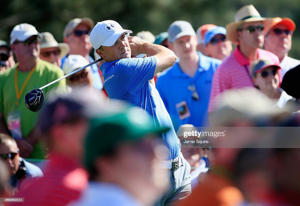 Jordan Spieth of the United States hits his tee shot on the eighth hole during the third round of the 2015 Masters Tournament at Augusta National...