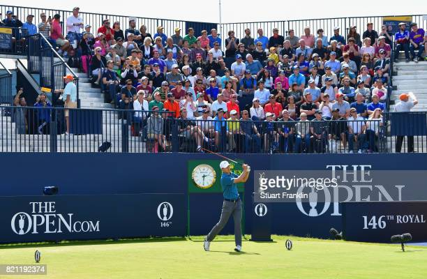 Jordan Spieth of the United States hits his tee shot to the 1st hole during the final round of the 146th Open Championship at Royal Birkdale on July...