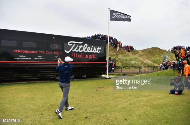 Jordan Spieth of the United States hits his third shot from the practice range on the 13th hole during the final round of the 146th Open Championship...