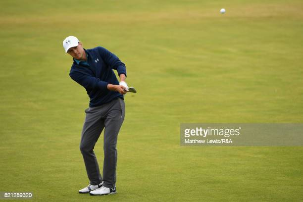 Jordan Spieth of the United States hits his third shot on the 17th hole during the final round of the 146th Open Championship at Royal Birkdale on...