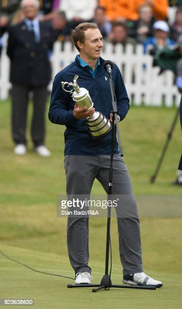 Jordan Spieth of the United States holds the Claret Jug and speaks to the crowd after winning the 146th Open Championship at Royal Birkdale on July...