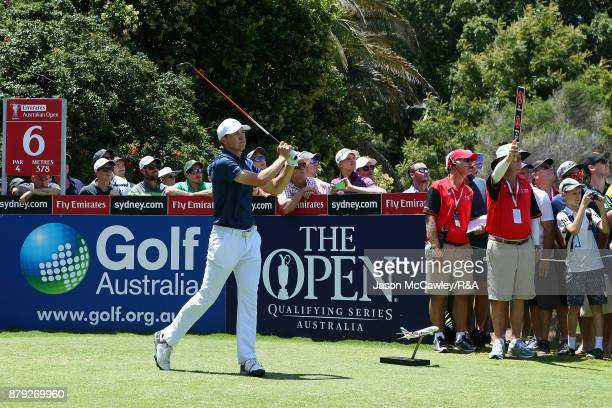 Jordan Spieth of the United States in action during day four of the 2017 Australian Golf Open at the Australian Golf Club on November 26 2017 in...