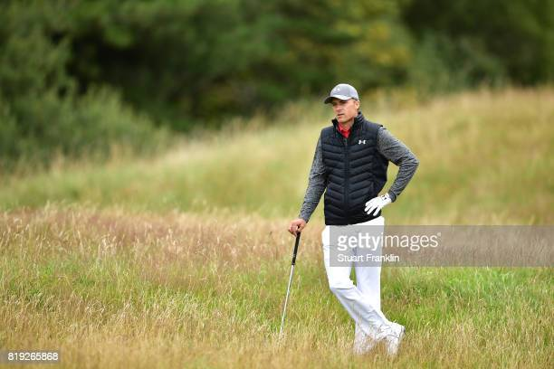 Jordan Spieth of the United States in the rough on the 5th hole during the first round of the 146th Open Championship at Royal Birkdale on July 20...