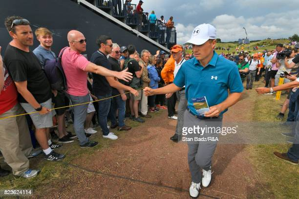 Jordan Spieth of the United States is greeted by fans along the eighth hole during the final round of the 146th Open Championship at Royal Birkdale...