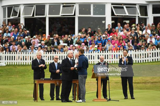 Jordan Spieth of the United States is presented with the Claret Jug after winning the 146th Open Championship at Royal Birkdale on July 23 2017 in...