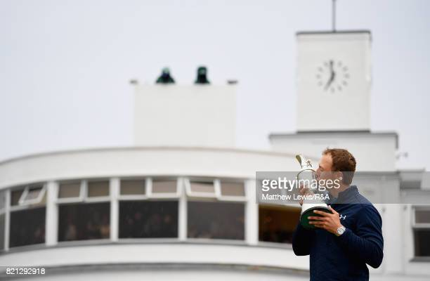 Jordan Spieth of the United States kisses the Claret Jug after winning the 146th Open Championship at Royal Birkdale on July 23 2017 in Southport...