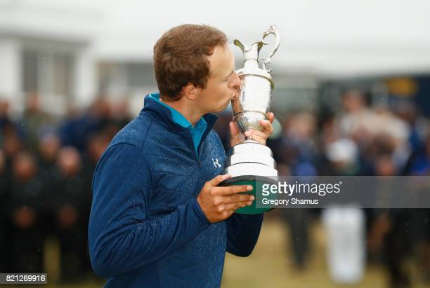 Jordan Spieth of the United States kisses the Claret Jug following his victory on the 18th green during the final round of the 146th Open...