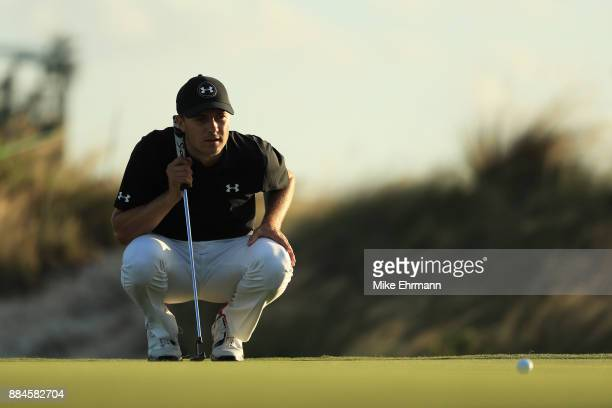 Jordan Spieth of the United States lines up a putt during the third round of the Hero World Challenge at Albany Bahamas on December 2 2017 in Nassau...