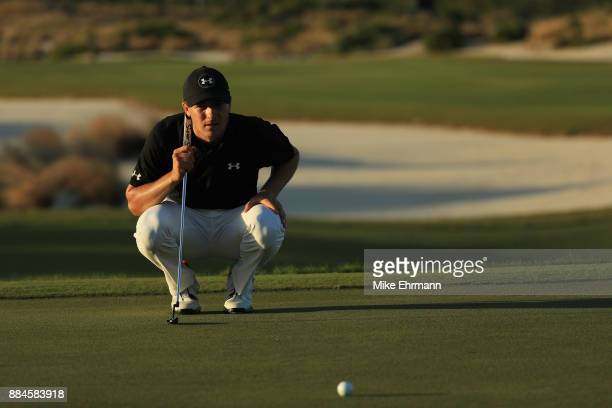 Jordan Spieth of the United States lines up a putt on the 17th green during the third round of the Hero World Challenge at Albany Bahamas on December...