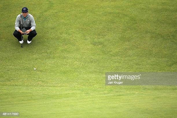 Jordan Spieth of the United States lines up a putt on the 18th hole during the final round of the 144th Open Championship at The Old Course on July...