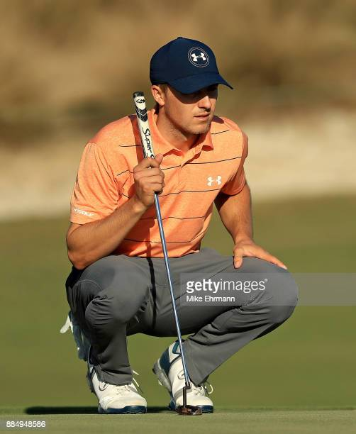 Jordan Spieth of the United States lines up a putt on the 18th hole during the final round of the Hero World Challenge at Albany Bahamas on December...