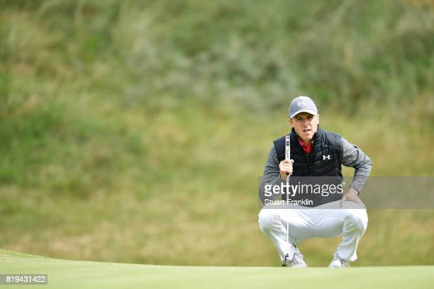 Jordan Spieth of the United States lines up a putt on the 6th hole during the first round of the 146th Open Championship at Royal Birkdale on July 20...