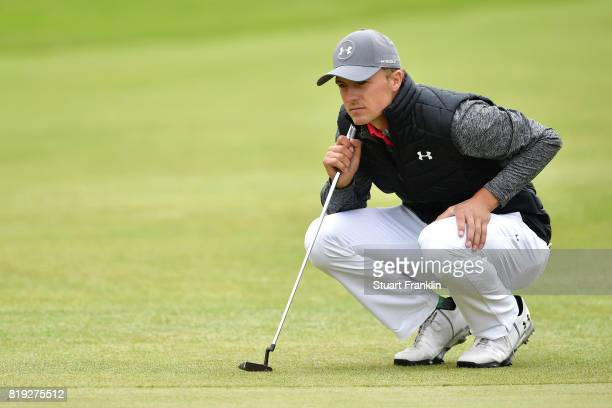 Jordan Spieth of the United States lines up his putt on the 5th hole during the first round of the 146th Open Championship at Royal Birkdale on July...