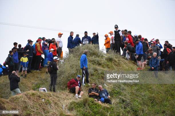 Jordan Spieth of the United States looks at his options to play on the 13th hole during the final round of the 146th Open Championship at Royal...