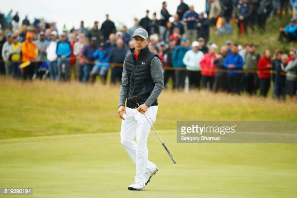 Jordan Spieth of the United States looks on during the first round of the 146th Open Championship at Royal Birkdale on July 20 2017 in Southport...