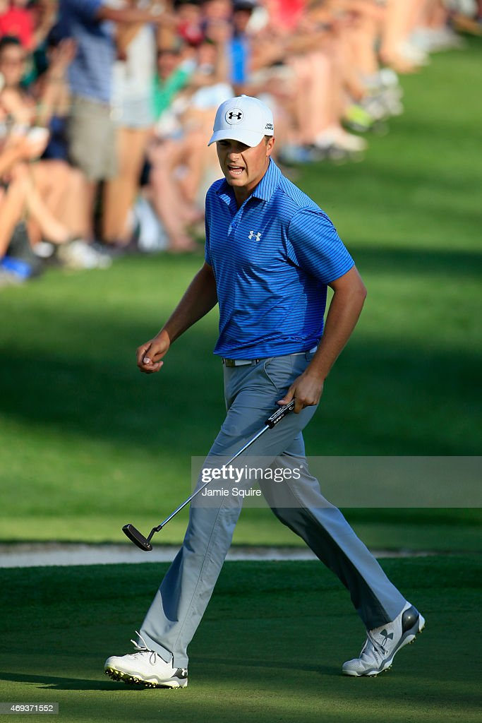 Jordan Spieth of the United States makes birdie on the 16th hole during the third round of the 2015 Masters Tournament at Augusta National Golf Club...