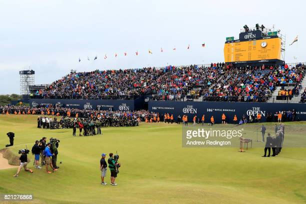 Jordan Spieth of the United States makes his victory speech with the Claret Jug on the 18th green during the final round of the 146th Open...