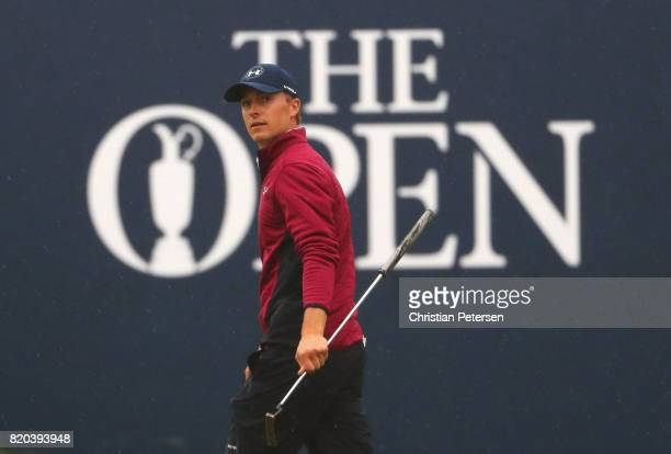 Jordan Spieth of the United States on the 18th green during the second round of the 146th Open Championship at Royal Birkdale on July 21 2017 in...