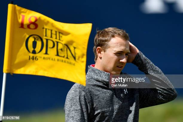 Jordan Spieth of the United States on the 18th hole during the first round of the 146th Open Championship at Royal Birkdale on July 20 2017 in...