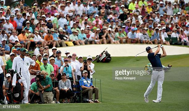 Jordan Spieth of the United States on the 3rd tee during the final round of the 2015 Masters at Augusta National Golf Club on April 12 2015 in...