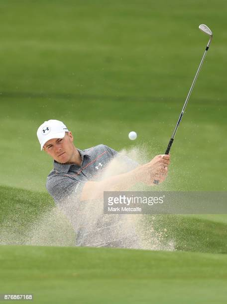 Jordan Spieth of the United States plays a bunker shot during a practice round ahead of the 2017 Australian Open at The Australian Golf Club on...