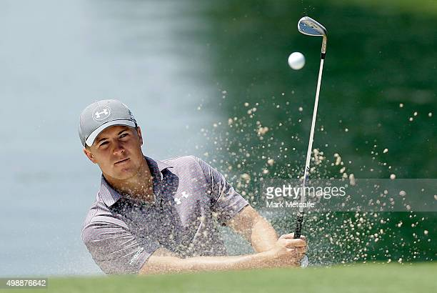 Jordan Spieth of the United States plays a bunker shot on the 9th hole during day two of the Australian Open at the Australian Golf Club on November...