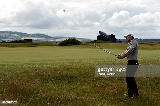 Jordan Spieth of the United States plays a practice round ahead of the 144th Open Championship at The Old Course on July 13 2015 in St Andrews...