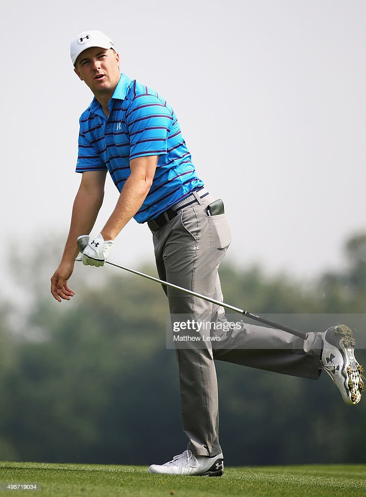 Jordan Spieth of the United States plays a shot from the 15th fairway during day one of the WGC HSBC Champions at the Sheshan International Golf Club...