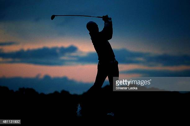 Jordan Spieth of the United States plays a shot on the 13th hole during the second round of the 144th Open Championship at The Old Course on July 17...
