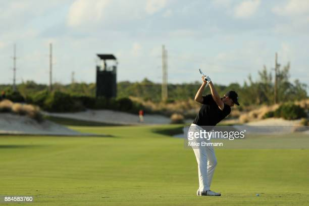 Jordan Spieth of the United States plays a shot on the 15th hole during the third round of the Hero World Challenge at Albany Bahamas on December 2...