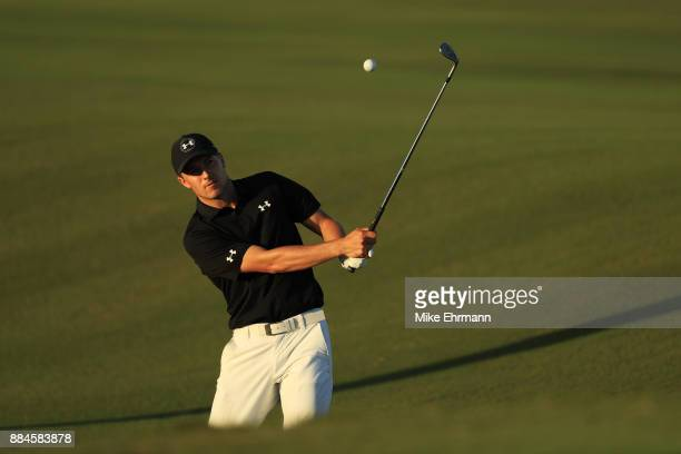 Jordan Spieth of the United States plays a shot on the 17th hole during the third round of the Hero World Challenge at Albany Bahamas on December 2...