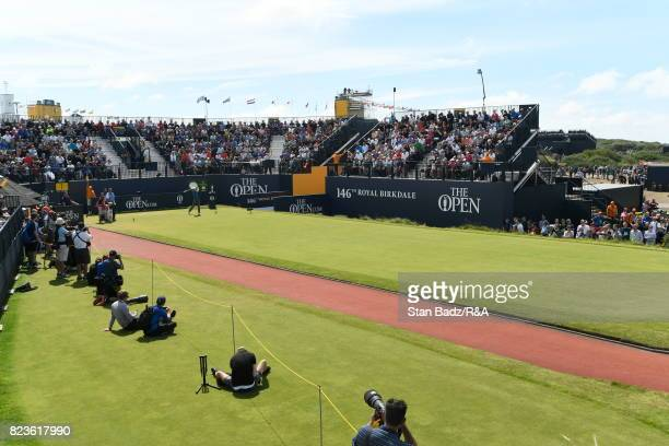 Jordan Spieth of the United States plays a shot on the first hole during the final round of the 146th Open Championship at Royal Birkdale on July 23...