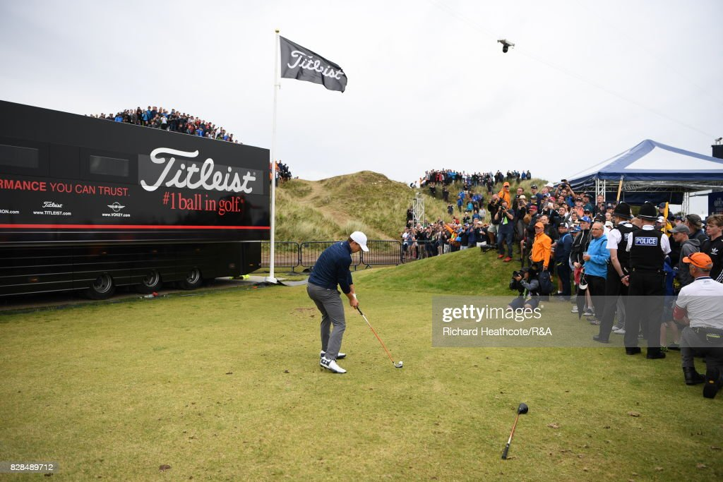 Jordan Spieth of the United States plays from the driving range alongside the 13th hole during the final round of the 146th Open Championship at Royal Birkdale on July 23, 2017 in Southport, England.