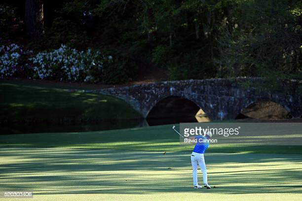 Jordan Spieth of the United States plays his fifth shot on the 12th hole during the final round of the 2016 Masters Tournament at Augusta National...